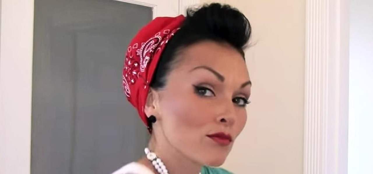 How To Style & Put Your Hair In A Bandana Retro Pin Up Style