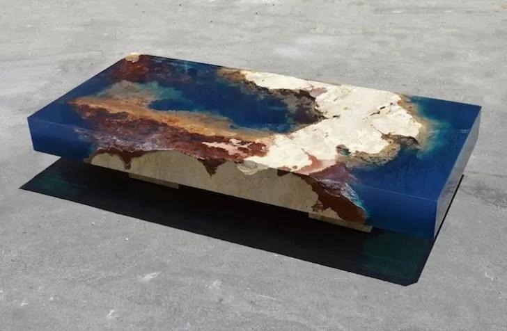Questo Tavolino In Pietra Naturale E Resina Porterà Loceano