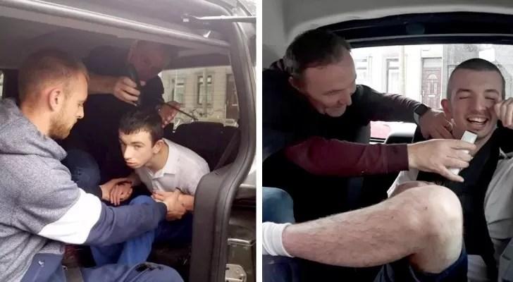 Este barbeiro se ofereceu para cortar os cabelos de um garoto autista dentro do carro, lugar onde ele se sente mais seguro