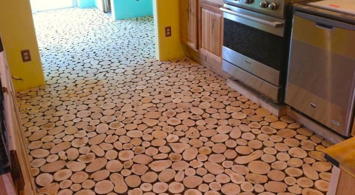 Come ottenere un bel pavimento fatto di dischi di legno