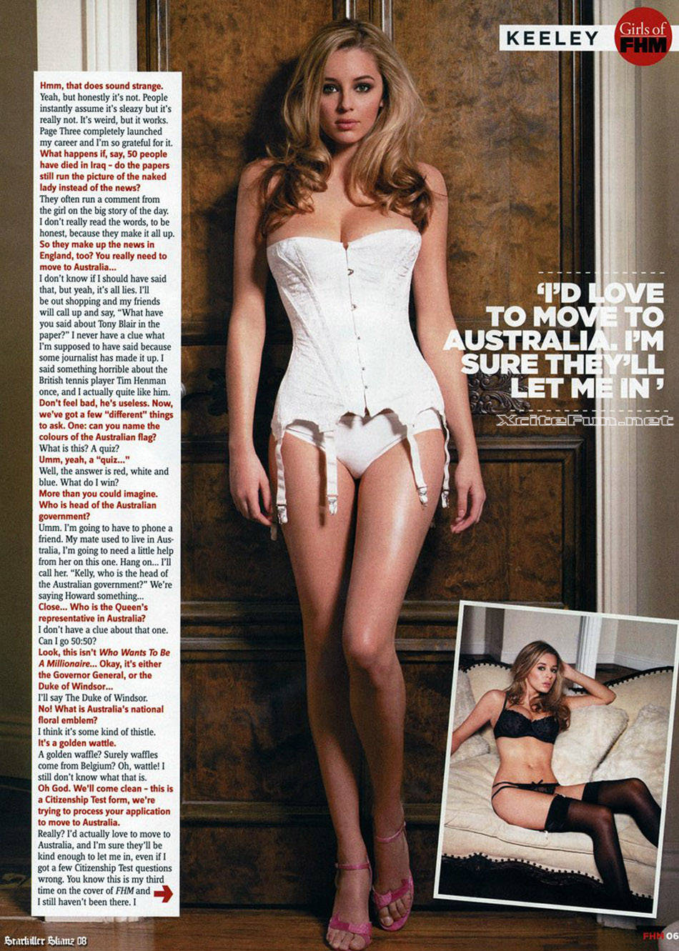 Keeley Hazell Page 3 Girl Photo Shoot For FHM Australia