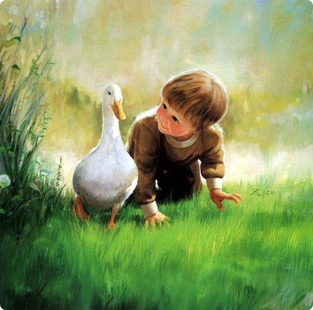Child with a goose