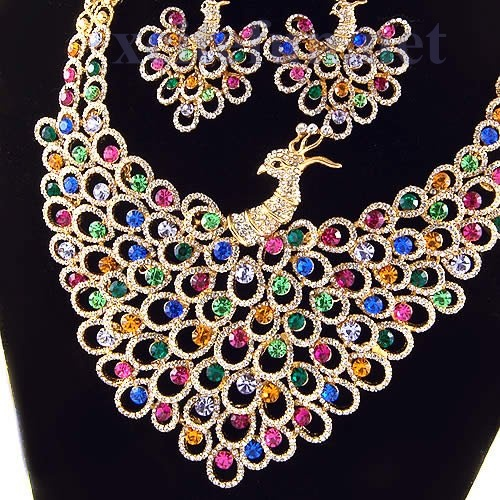 Peacock Pattern Wedding Jewelry Set Shining Necklace Earring  XciteFunnet