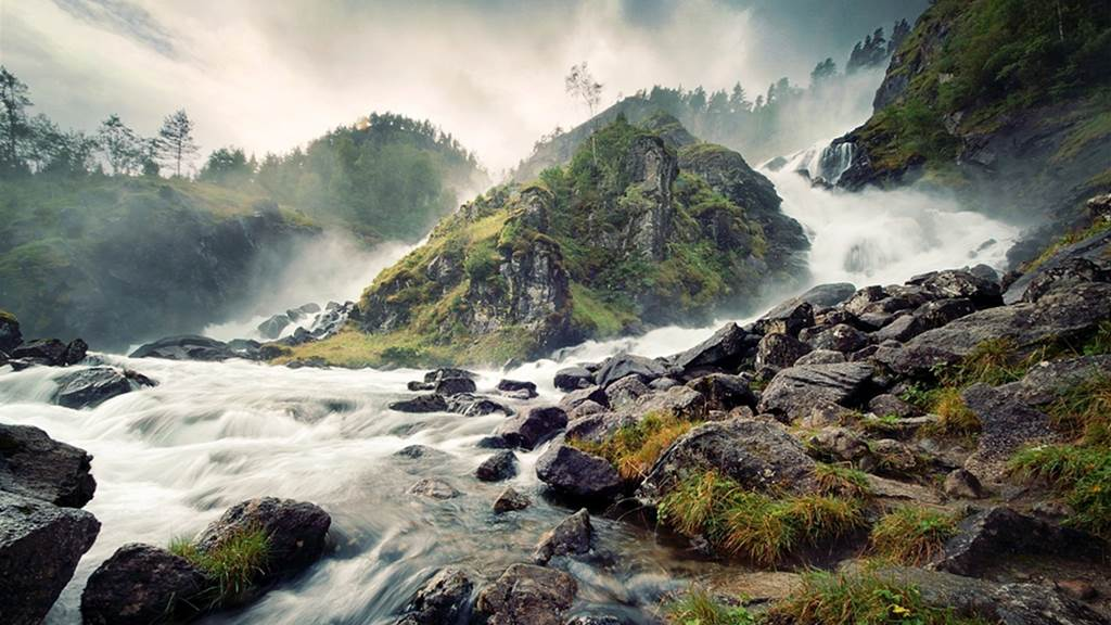 Fall Landscape Wallpaper Desktop Latefossen Waterfall Norway Images Xcitefun Net