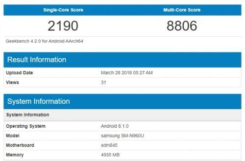 Galaxy Note 9 замечен в Geekbench