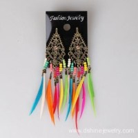 Rainbow Feather Earrings For Kids Metal Charm Ear Studs of ...