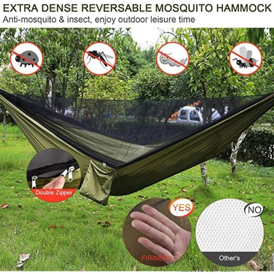 Outdoor hammock swing, with integrated mosquito net shade cloth extens -  Uptoll