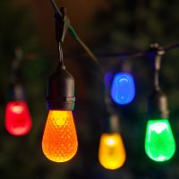 Commercial Patio String Lights, Multicolor S14 LED Bulbs ...