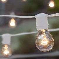 Commercial Patio String Lights, Clear A19 Bulbs, White ...