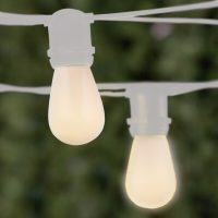 Commercial Patio String Lights, White S14 Opaque Bulbs ...