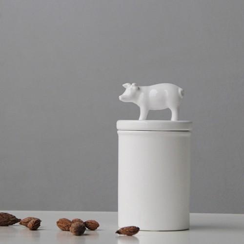 kitchen canister bistro set 现代简约北欧极简白色陶瓷猪密封储物罐干果茶叶零食罐厨房罐 一兜糖
