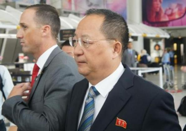 North Korean Foreign Minister Ri Yong-ho arrives at JFK International Airport in New York on Sept. 20, 2017. (Yonhap)