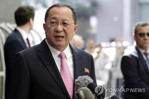 뉴욕서 입장발표하는 리용호 북한 외무상