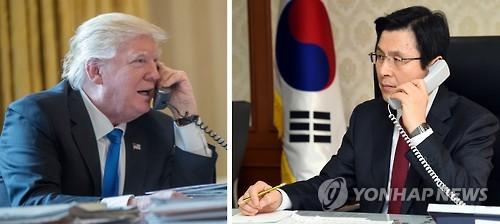지난 1월30일 첫 통화 당시의 황교안 권한대행(오른쪽)과 도널드 트럼프 미국 대통