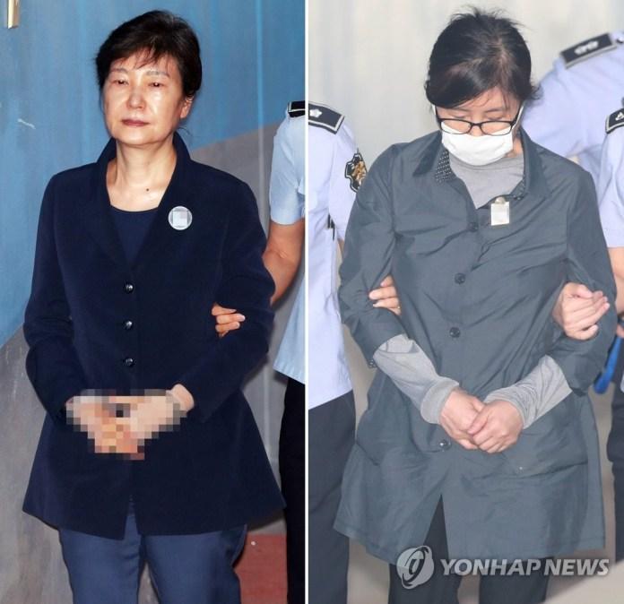 법원 향하는 박근혜-최순실
