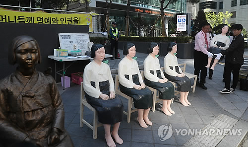 Comfort women statues in front of Japanese Embassy