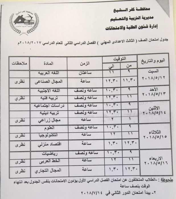 2- جدول الشهادة الاعدادية المهنية