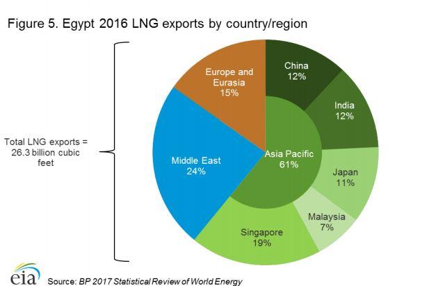 صادرات الغاز المصرية خلال عام 2016