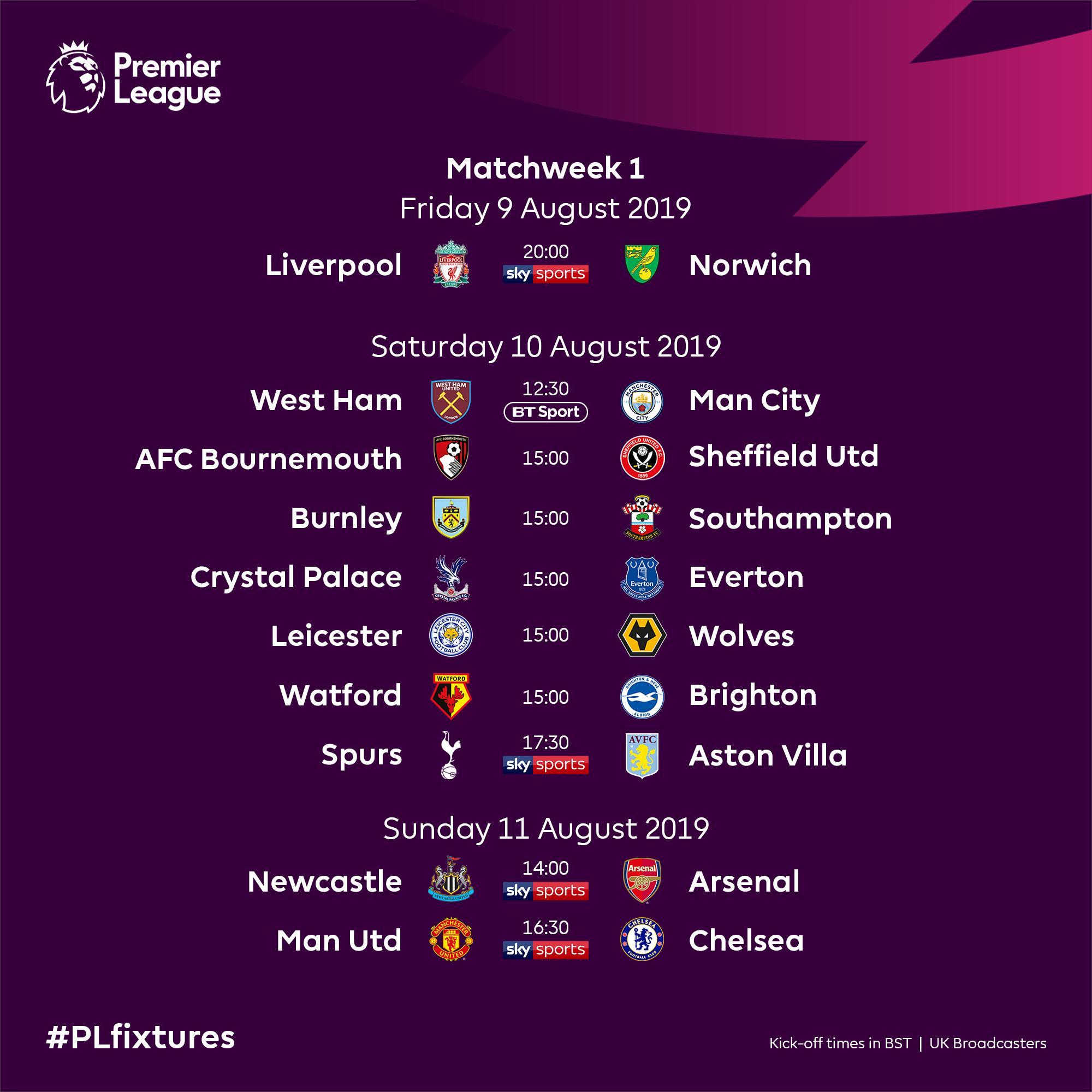 مواعيد مباريات الجولة الأولى فى الدوري الإنجليزي اليوم السابع