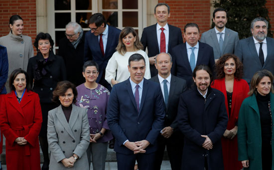 صورة-جماعية-للحكومة-الإسبانية-الجديدة