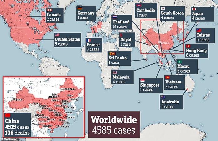 The spread of the virus worldwide