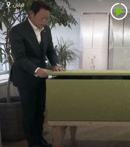 An employee turns the sofa into a coffin