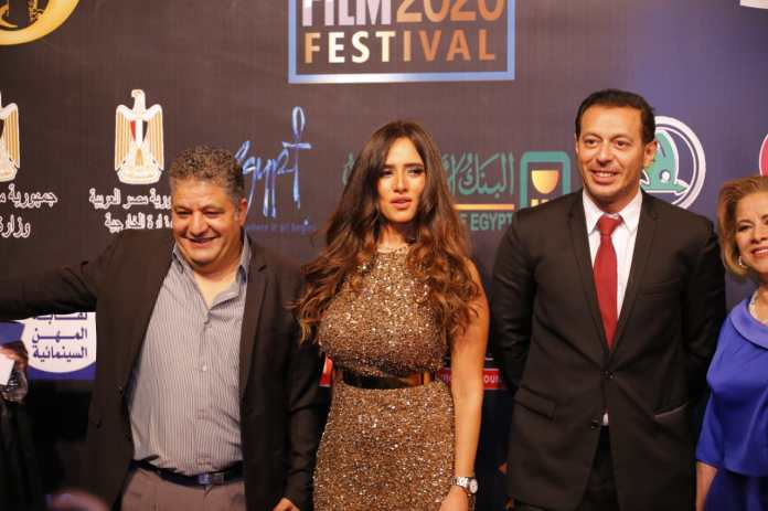 Artist Mostafa Shaaban and Zina during their participation in the Luxor Festival