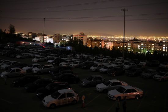 Cars line up to watch the movie
