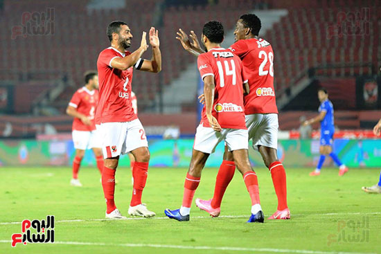 Al-Ahly players celebrate the second goal