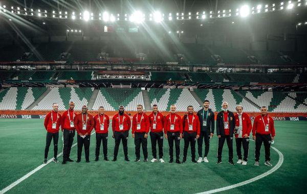 Al-Ahly technical staff in the Qatari Al-Duhail match stadium