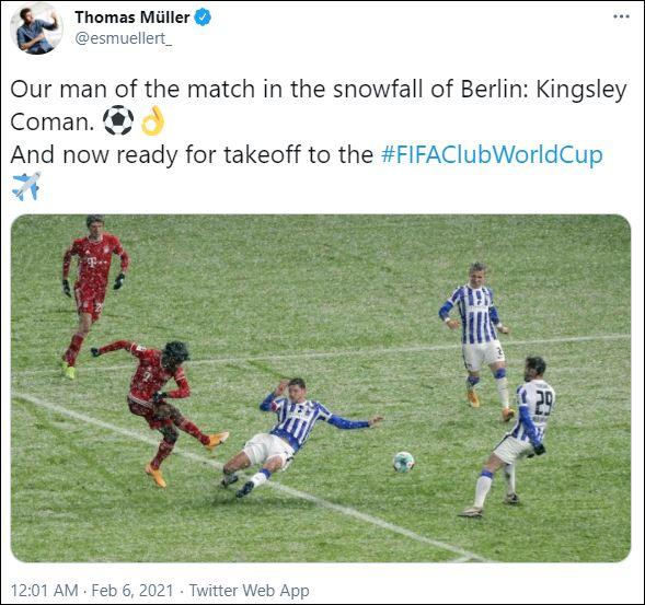 توماس مولر عبر تويتر