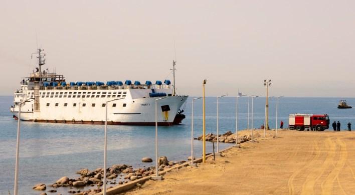 السفينة لدى وصولها من السودان