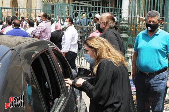 Nadia Mustafa at the funeral of Maher Al-Attar