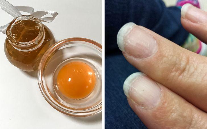 العناية بالأظافر - صفار البيض والعسل
