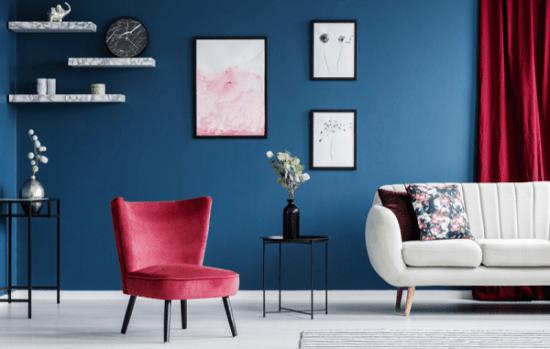 اللون الأزرق أحدث ألوان طلاء جدران المنزل لصيف 2021