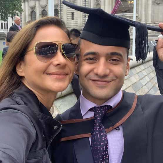 Nelly Karim and her son Youssef in a photo from his graduation party