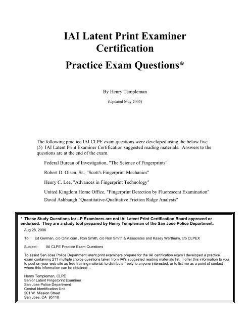 IAI Latent Print Examiner Certification Practice Exam   Onincom