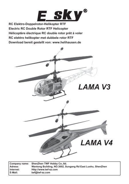 deutsche Bedienungsanleitung zum E-Sky Lama V4