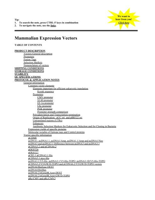 Mammalian Expression Vectors (pcdna3, pcdna3.1 etc