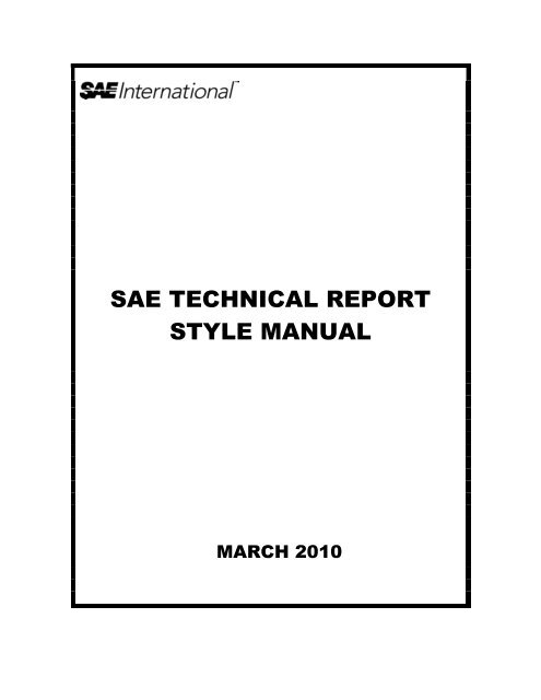 SAE TECHNICAL REPORT STYLE MANUAL