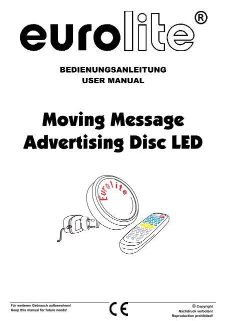 EUROLITE Moving message advertising disc LED User Manual