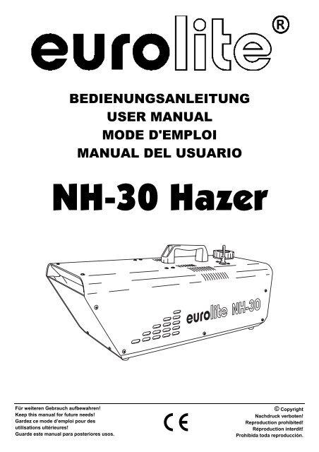 EUROLITE NH-30 Hazer User Manual (#3046)