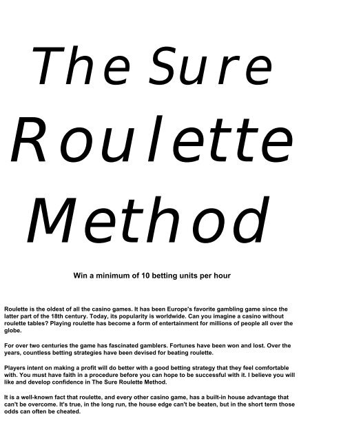 winning with the sure roulette method - The Gambling Advisor