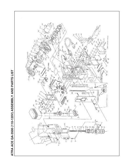 atra ace qa-3500 (110-120v) assem bly and parts list