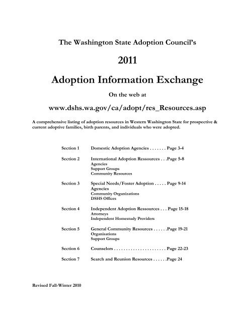 Dshs Puyallup : puyallup, Adoption, Information, Exchange