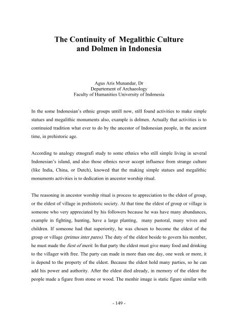 The Continuity Of Megalithic Culture And Dolmen In Indonesia