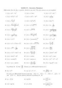 Worksheet 75 - First Derivative Test