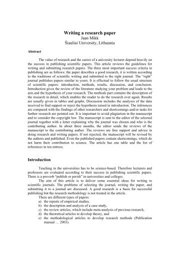 GENERAL OUTLINE OF A LABORATORY REPORT Pathfinder Research Paper