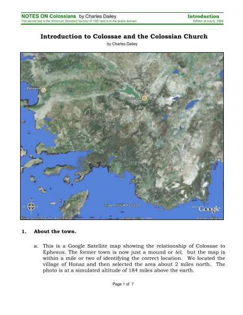 Colossae Map : colossae, Introduction, Colossae, Colossian, Church, Charles