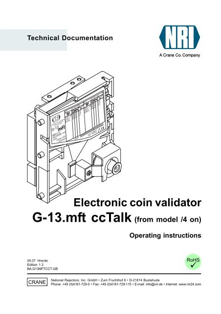 electronic coin validator G-13.mft with ccTalk